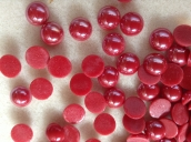 Glas Cabochons , rot, T-CA209, 10mm, 15St.
