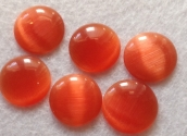 Cabochons cateye T-CAB12, 16mm 5St. Orange/rot